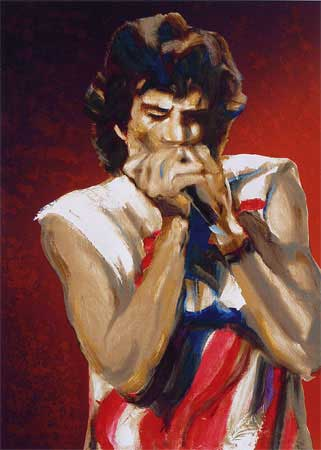 Mick with Harmonica: Red